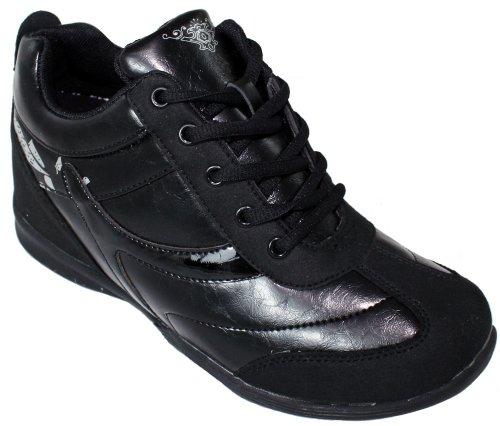Calden - K9933 - 2,8 Inches Taller - Hoogte Toenemende Schoenen (zwarte Sneakers) - Dames