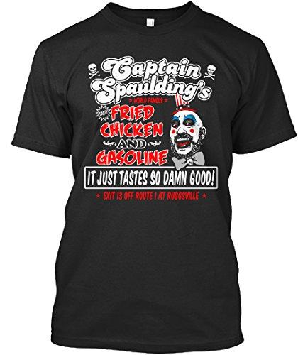 Teespring Unisex Captain Spauldings Fried Chicken And Gasoline Premium T-Shirt X-Large Black (Horror Tshirts)