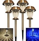 Sogrand Solar Garden Lights Outdoor Decorations Stakes Pathway Copper Decorative Stake Light Dual Color LED Landscape Home Decor Waterproof Bright Yard Lamp For Outside Walkway Driveway Patio 4Pack