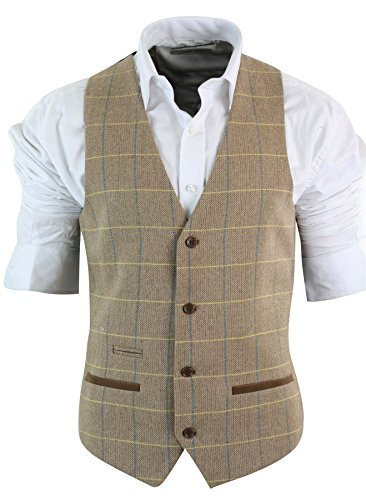 (Mens Vintage Tweed Check Waistcoat Herringbone Tan Brown Grey Slim Fit Velvet Trim)