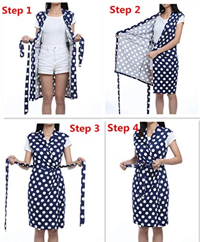Above Wrap Knee Blue Dress Sleeveless Dresses Crossover Neck V Women Polka Wrap MOLY MISS Dots qvp177