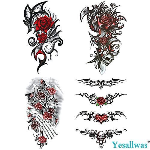 Biker Girl Halloween Makeup (Yesallwas 4 Sheets Large Temporary Tattoo Sticker Fake Tattoos for Women Girls Models,Waterproof Long Lasting Body Art Makeup Sexy Realistic Arm Tattoos -Rose, Flowers,Jewelry 5.9x8.26inche)