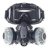 CKLT Dual Cartridge Anti-Dust Industrial Spray Paint Polishing Pesticide Chemical Gas mask Respirator Glasses Set
