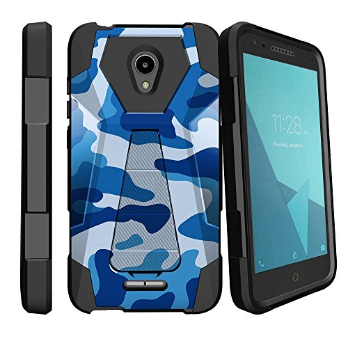 MINITURTLE Compatible with Alcatel Raven LTE, Alcatel IdealXcite, Alcatel CameoX Dual Layer Protective Non Slip Shockproof Cover with Push-in Stand by MINITURTLE - Blue Camouflage