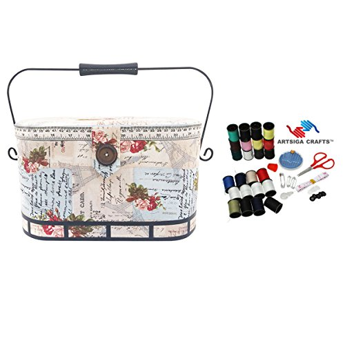 Why Choose Dritz Sewing Basket Large Oval Metal Handle (12 L x 8.75 W x 7.5 H) Quotes in Lt Cream...