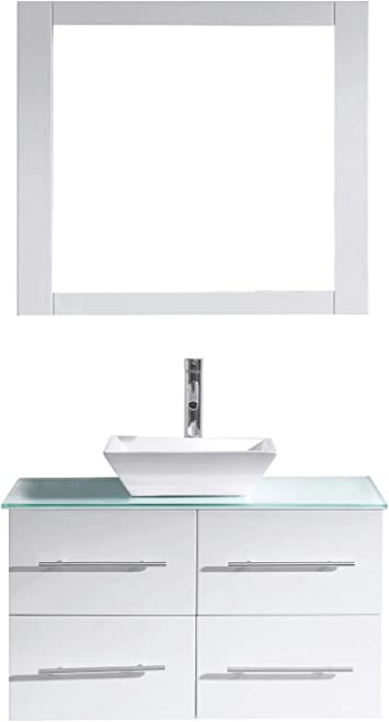 Virtu Usa Ms 565 S Wh 001 Marsala 35 Single Bathroom Vanity In White Engineered Stone Top And Square Sink With Brushed Nickel Faucet And Mirror 35 Inches Amazon Com