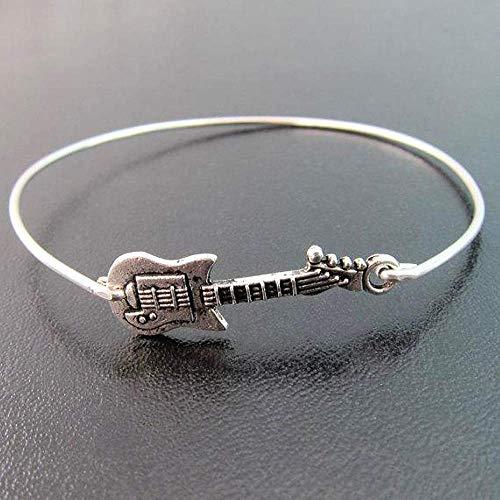 Guitar Bracelet Rock Music Jewelry Theme Gift for Musician Teacher Slip on Bangle Average Size -