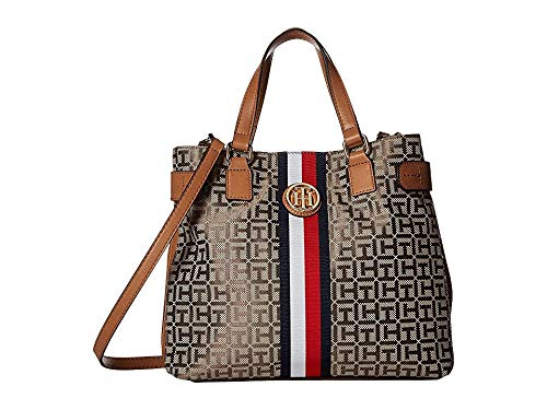 Tommy Hilfiger Women's Tami Convertible Shopper Tan/Dark Chocolate One - Shopper Tan