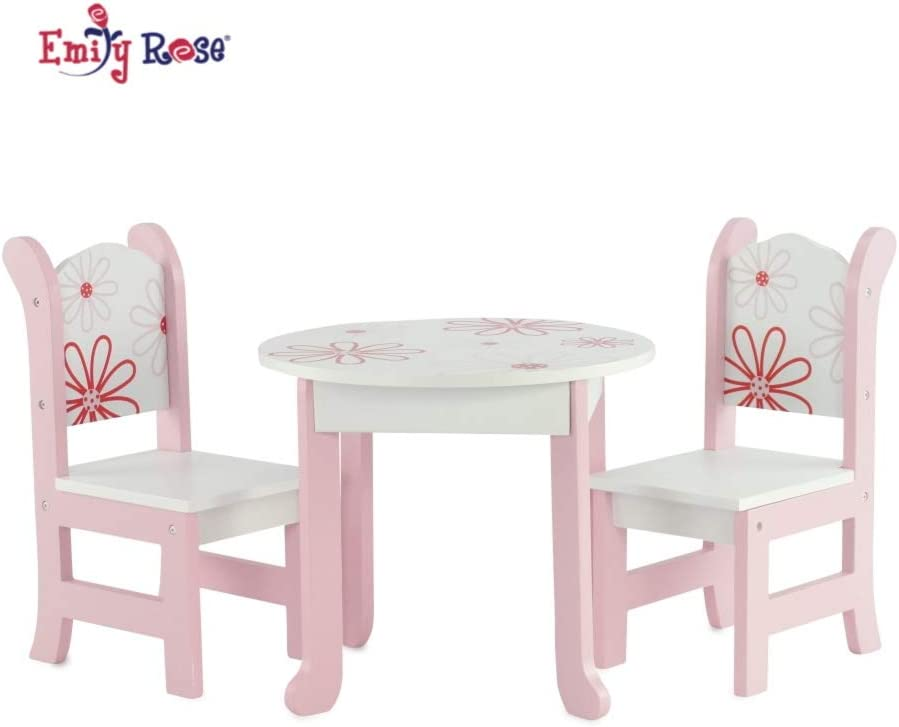"""Emily Rose 12 Inch Doll Furniture Fits 12"""" American Girl Dolls - Floral  Doll Table and Chairs Set for My Life Dolls"""