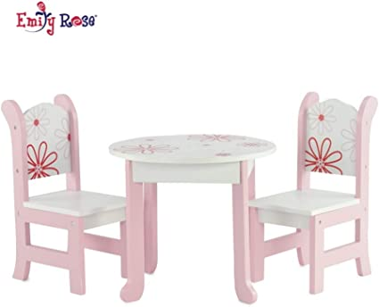"""Doll Table /& Chair Set American Girl Dolls 18/"""" Furniture White Wooden Toy Sturdy"""