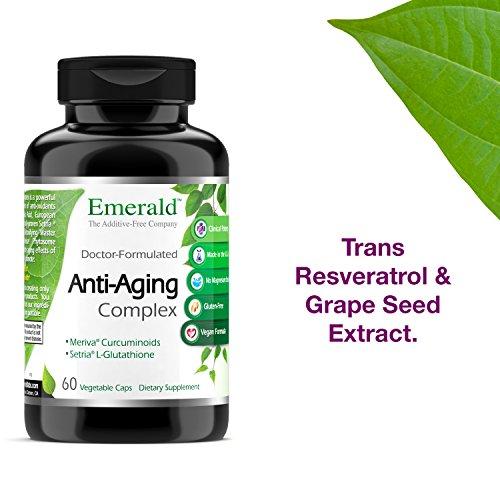 51bsRtjKUJL - Anti-Aging Complex - with L-Glutathione, Resveratrol, CoQ10, R-Alpha Lipoic Acid, Meriva, Pomegranate, & More - Emerald Laboratories (Rainforest) - 60 Vegetable Capsules