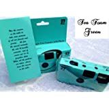 A 10 Pack of Plain Seafoam Green themed 35mm disposable wedding cameras with 35mm color film, 27 exposures, Wedding Favor for Candid Photos