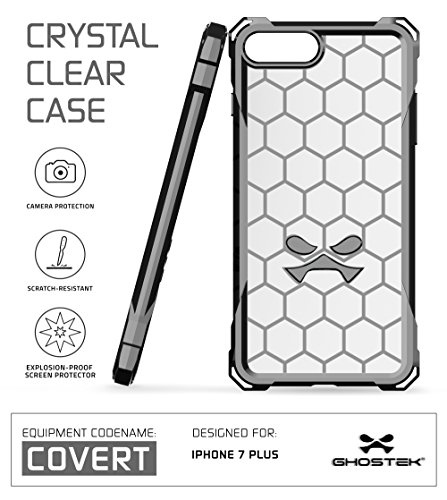 iPhone 7 Plus Case, Ghostek Covert Series for Apple iPhone 8 Plus Premium Hybrid Impact Protective Armor Case Cover   Clear TPU   Explosion-Proof Screen Protector   Ultra Fit   Spring Corners (Gray)