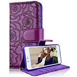 Samsung Galaxy Note 4 Wallet Case, Bonice Camellia Flower PU Leather Elegant Flip Folio Stand Case Anti-scratch Skin Cover Pouch with Card Slots Magnetic Closure + Detachable Wrist Strap - Purple