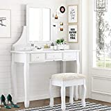 Amolife Vanity Makeup Set with 5 Drawers, Dressing Table with Removable Mirror and Cushioned Stool, Makeup Desk, Solid Wood Legs, Crystal Knob, White