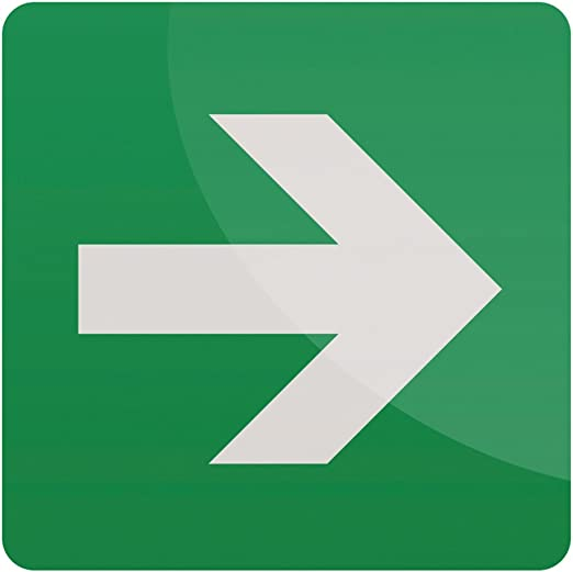 VSafety Green Straight Arrow Sign Self Adhesive Vinyl 100mm x 100mm Square