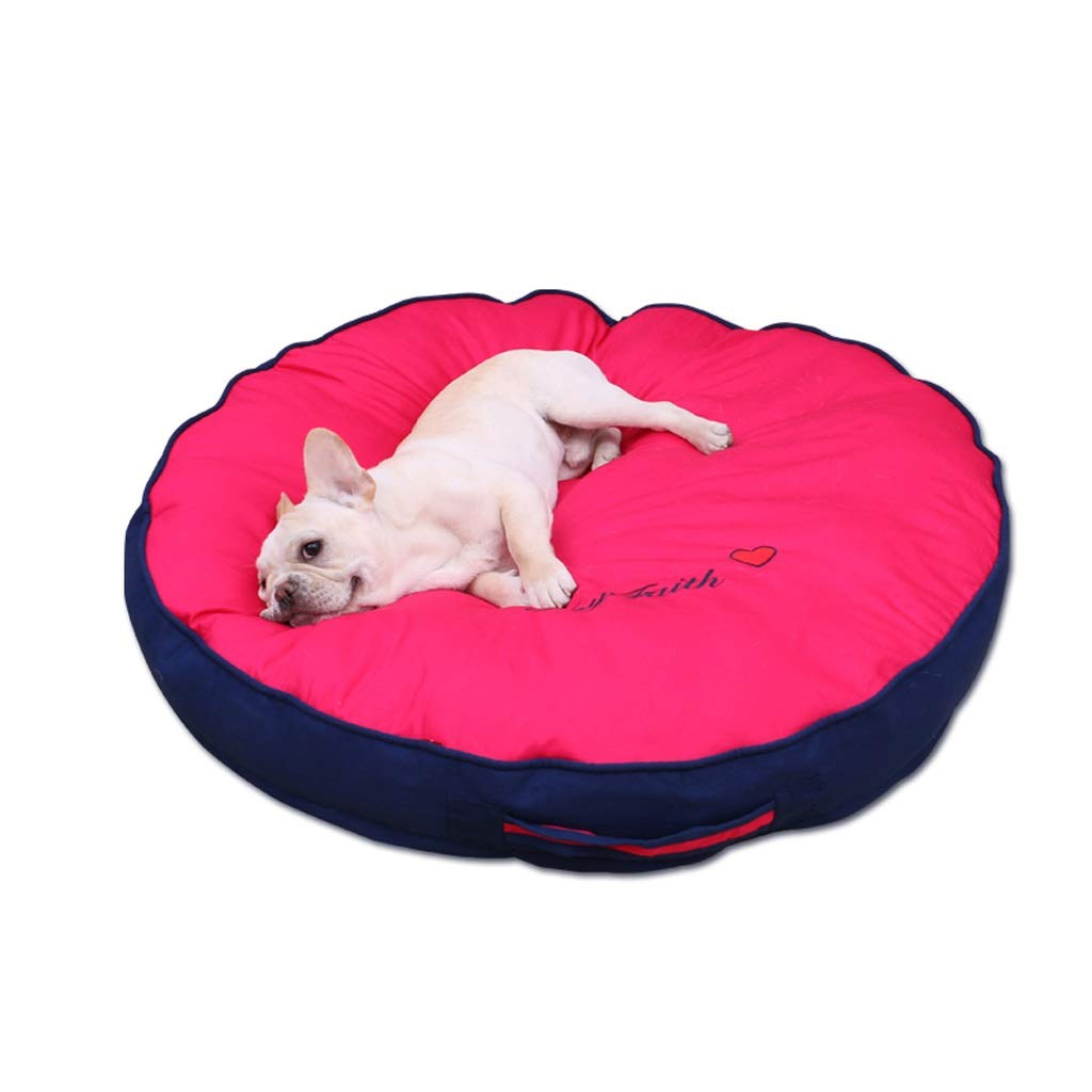 Red Medium Red Medium Kennel Dog Mat Pet Supplies Sleeping Mat Winter Mat Removable And Washable Design Seasons Available Winter Warm, Red Yellow JSSFQK (color   Red, Size   M)