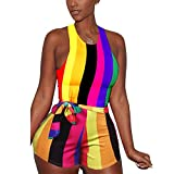 Women's Sexy Rainbow Striped Print Vest Jumpsuit Sleeveless Hot Mini Shorts Romper with Belt