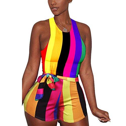 (Women's Sexy Rainbow Striped Print Vest Jumpsuit Sleeveless Hot Mini Shorts Romper with Belt)