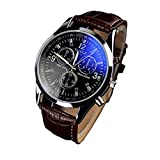 KIOP Men's Luxury Fashion Faux Leather Mens Blue Ray Glass Quartz Analog Watches
