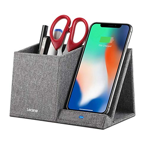 Lecone 10W Fast Wireless Charger with Desk Organizer Qi Certified Fabric Induction Charger Stand Pen Pencil Holder…