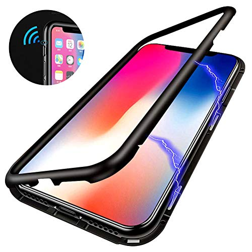 Magnetic Adsorption Phone Case Compatible with iPhone X ,[Anti-scratch] [Full Protection]Metal Frame Clear Tempered Glass Back Cover, Support Wireless Charge for iPhone X 5.8 [Clear Black]