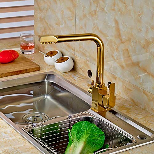 - New Golden Pure Water Kitchen Faucet Hot and Cold Water Faucet Double Handles Mixer Tap Deck Mount - Kitchen Faucet - for Everyone