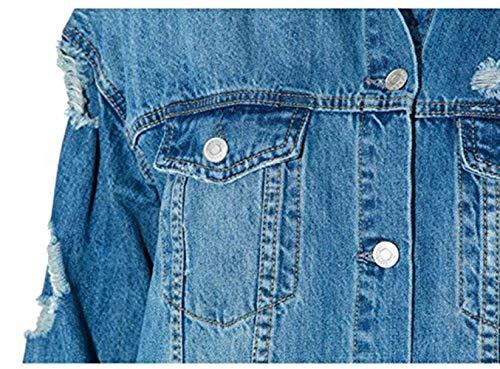 Abrigo Solapa Boyfriend Día Primavera Largo Mujer Vaqueras Casuales Exteriores Otoño Outwear Jeans Vaquera Prendas Jacket Chaqueta De Relaxed Rasgado Estilo Azul Manga IxIr7