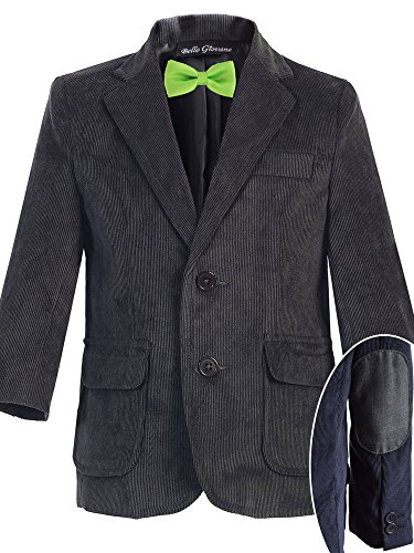 Bello Giovane Boys Charcoal Corduroy Blazer SZ 8-14 (Pick Your Free Bow Tie)