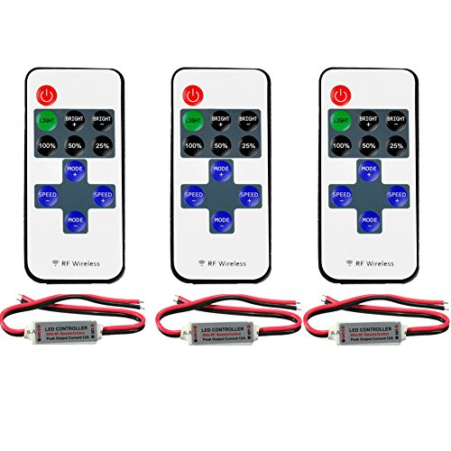 FAVOLCANO (3 Pack) Mini LED Controller Dimmer with 11 Key RF Wireless Remote Control DC 5~24V 12A for Single Color 3528 5050 LED Strip Lights -