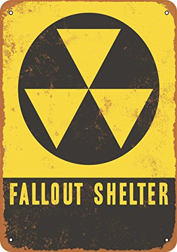 Wall-Color 7 x 10 Metal Sign - Fallout Shelter - Vintage Look ()