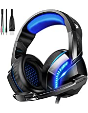 Phoinikas USB Computer Gaming Headset for PS PC Xbox One Controller Noise Cancelling Over Ear Headphones with Mic LED Light Bass Surround Soft Memory Earmuffs for Laptop Mac Nintendo
