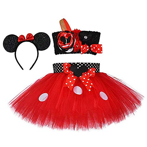 Christmas Minnie Mouse Costume (Birthday Dress Up Minnie Costume for Kids Girls Christmas Halloween Party Tutu Dresses Outfits with Mouse Ear Headband)