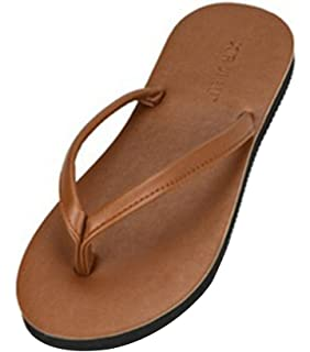 Sentao Unisex Casual Flats Thong Sandalen PU Leder Zehentrenner Komfort Sandaletten Grau 40