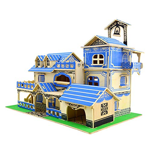 SM SunniMix Kids Party Play 111x Wood Jigsaw Puzzles Villa Model Building Accessory DIY by SM SunniMix
