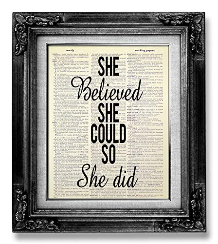 She Believed She Could so She Did Wall Art Poster, Graduation Gift for Her Nursing Master Degree College Teen Sister Birthday, Girl Room Decor Bedroom Wall Decor Woman, Inspirational Quote Decoration