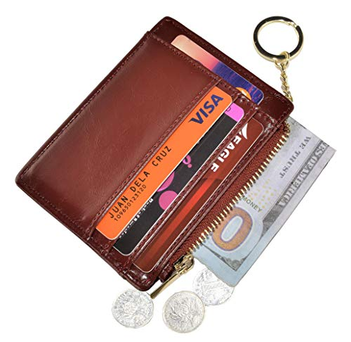 Womens Slim RFID Credit Card Holder Mini Front Pocket Wallet Coin Purse Keychain (Oil Brown)