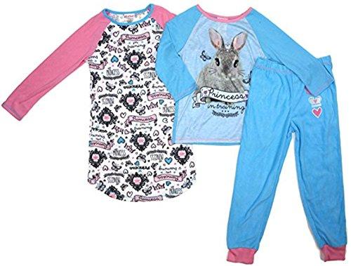 St. Eve Girls' 3-piece Fleece Pants Gown Shirt Sleep Set (X-Small (5/6), (Bunny Pj)