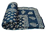 Exclusive Indian Jaipuri Quilt With Authentic Sanganeri Print Cotton Filling & Double Bed Size By ''INDIAN CREATIONS''