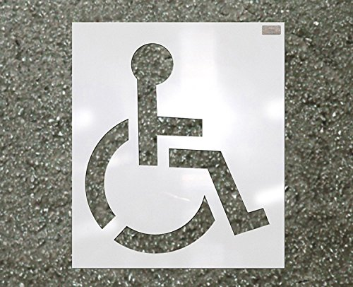 "39"" HANDICAP Stencil, 1/16"" Plastic for use in Parking lot and roadway painting and striping"