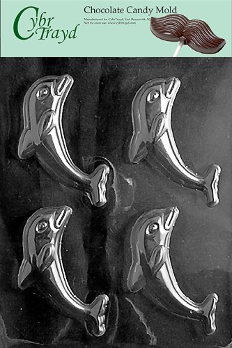 Cybrtrayd N041 Dolphon Chocolate Candy Mold with Exclusive Cybrtrayd Copyrighted Chocolate Molding Instructions