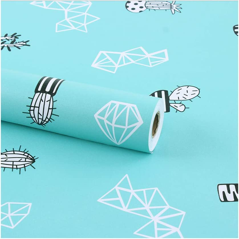 Yifasy 2 Pack Shelf Liners Black White Cactus Self-Adhesive PVC Drawer Paper Furniture Protector Redo Garden Table Room Door Christmas Decor 17.7 Inch Wide