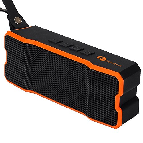 Portable Wireless Bluetooth Speaker,Teetox IP65 Waterproof Outdoor Speakers 4.0 with 12-Hour Playtime, Built-in Mic,Deep bass and Loud Stereo Sound,Black and Orange