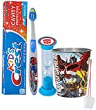 "Transformers Inspired 4pc Bright Smile Oral Hygiene Set! Soft Manual Toothbrush, Toothpaste, Brushing Timer & Mouthwash Rinse Cup! Plus Bonus ""Remember to Brush"" Visual"