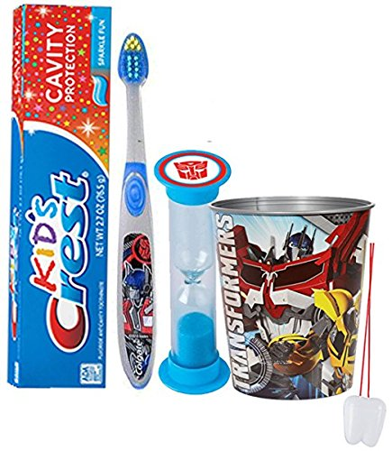 Transformers Inspired 4pc Bright Smile Oral Hygiene Set! Soft Manual Toothbrush, Toothpaste, Brushing Timer & Mouthwash Rinse Cup! Plus Bonus