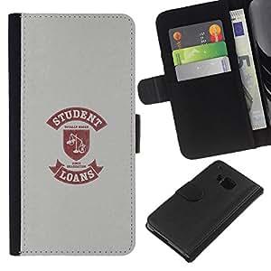 """Be-Star la tarjeta de CršŠdito Slots PU Funda de cuero Monedero caso cubierta de piel Para HTC One M7 ( Vida Estudiantil Cita divertida Escalas PršŠstamo de Dinero"""" )"""
