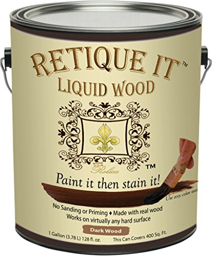 Retique It Liquid Wood - Dark Wood Gallon - Paint it then stain it - Stainable Wood Fiber Paint - Put a fresh coat of wood on it (128oz Dark Wood) by Relica
