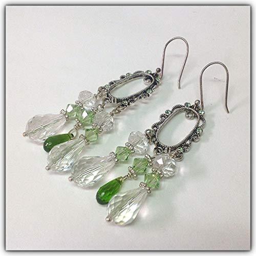 Swarovski Clear Emerald Green Crystals Silver Chandelier Earrings
