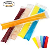yogurt sleeves - 160 Packs Disposable DIY Ice Pop Mold Bags for Yogurt, Candy, Ice, Milk and Freeze Pops Making(Coming with 5 Free Ice Pop Sleeves) (160Pack)