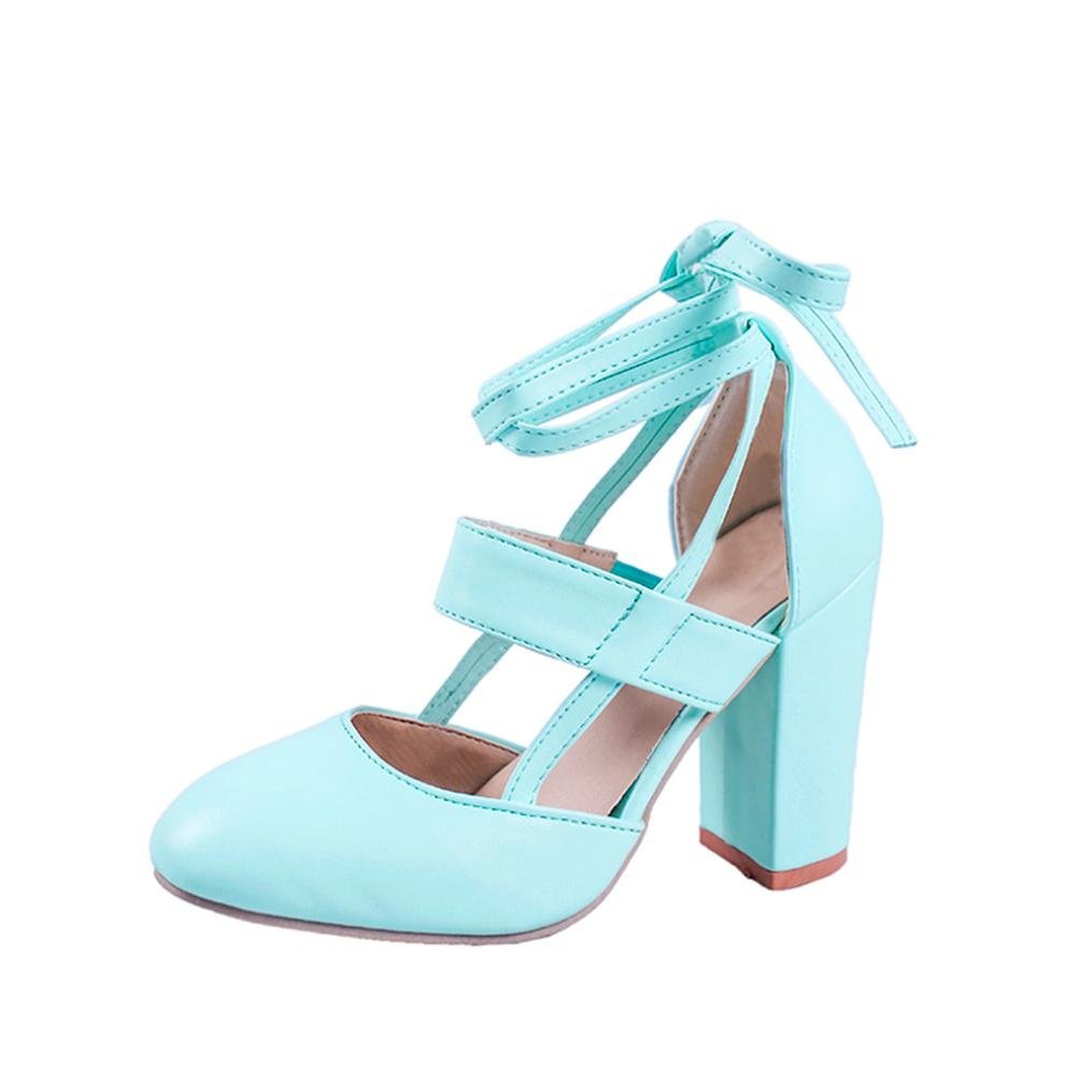 LtrottedJ Women's Fashion Heeled Sandals Ankle Strap Dress Sandals for Party Wedding (37, Blue)